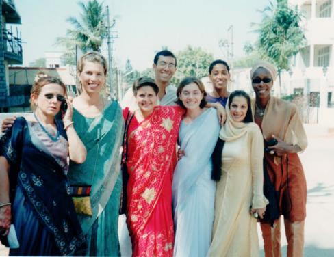 Laurel donning sari right Eileen of Yoga Moves Australia headed to Sharath's wedding.
