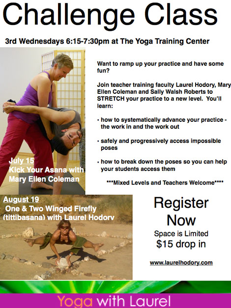 Challenge Class 3rd Wednesdays 6:15 to 7:30 at The Yoga Training Center